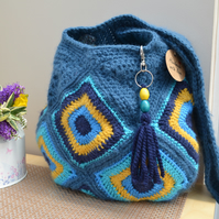 Stunning Bag In Blue & Mustard Squares