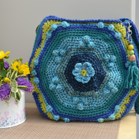 Stunning Blue & Sea Green Round Bag