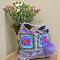 Pretty Purple & Grey Bag With Orange Centre Squares