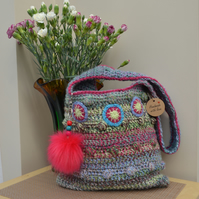 Holiday Bag In Dusky Pink & Green