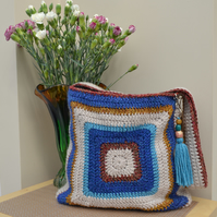 Charming Bag with Blue & Beige Centre Squares