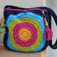 Fun Navy Bag With Bright Centre Circles