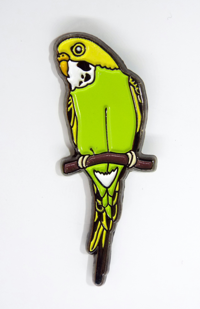 A Yellow & Green Budgie Enamel pin Badge