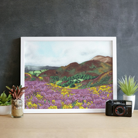 A4 Heather Hills Landscape Print