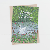 happy birthday swan on lake card