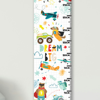 Personalised Height & Growth Chart - Boys Toys - Luxury material & hanger