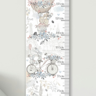 Personalised Height & Growth Chart - Floral Rabbits - Luxury material & hanger
