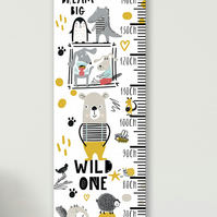 Personalised Height & Growth Chart - Wild One - Luxury material & hanger