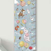 Personalised Height & Growth Chart - Balloon Animals - Luxury material & hanger