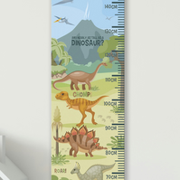 Personalised Height & Growth Chart - Dinosaur Fun - Luxury material & hanger
