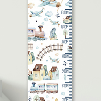 Personalised Height & Growth Chart - Planes & Trains - Luxury material & hanger