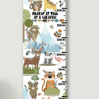 Personalised Height & Growth Chart - Tribal Animals - Luxury material & hanger