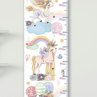 Personalised Height & Growth Chart - Unicorn Rainbows - Luxury material & hanger