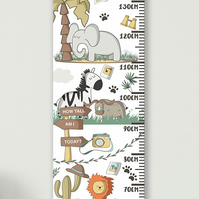 Personalised Height & Growth Chart - Safari Animals - Luxury material & hanger