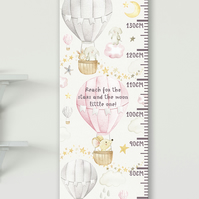 Personalised Height & Growth Chart - Hot Air Balloons - Luxury material & hanger