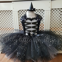 Little witch tutu dress, girls halloween costume with matching mini hat