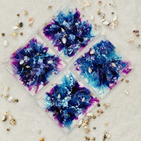 Square Mermaid Water  Resin Coasters, in pink, purple, blue and white,