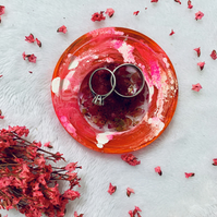 Round Resin Ring Dish with Rose Petals, Cotton Anniversary gift, Engagement gift