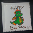 Happy Birthda greeting Card, cute dragon Handmade, Original Artwork, (101)
