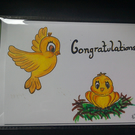 Greeting Card,  Congratulations Handmade, Original Artwork baby101