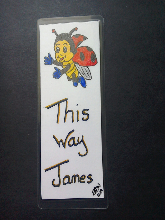 Childrens bookmark, encourage them to read, handmade - this way 'name'