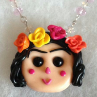 Frida Kahlo Ooak Necklace polymer clay pendant handmade necklace