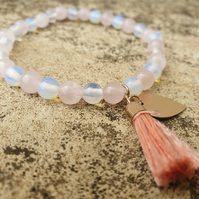 Opalite & Rose Quartz Healing Bracelet with charms