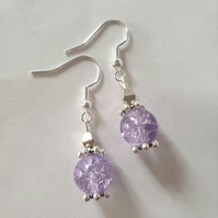 Lilac Crackle Earrings