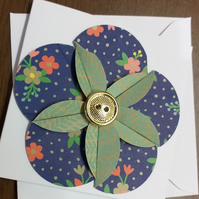Gold Button Flower (blue) Card