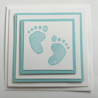 Baby Footprints Mini Blue Card