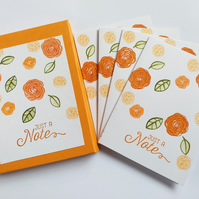 Orange Flowers Notecards (set of four in sleeve)