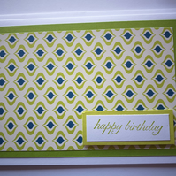 Larger Bold Pattern Birthday Card Lime Green