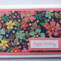 Larger Floral Birthday Card Pink