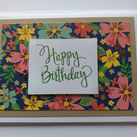 Larger Birthday Floral Card Taupe