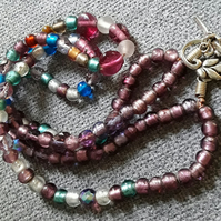 Beautiful Double Strand Glass Bead Necklace with Art Nouveau Style Toggle Clasp