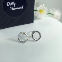 Hammered Circle Sterling Silver Stud Earrings