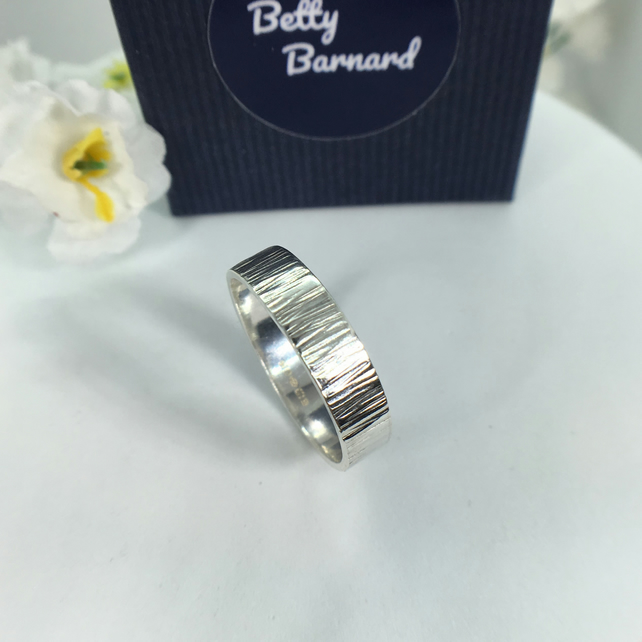 Band Ring Sterling Silver with Bark Effect - Hallmarked