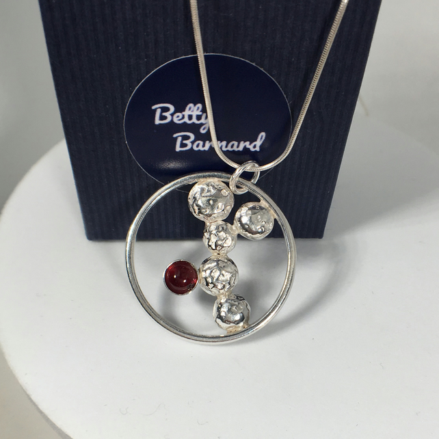 Pebble and Garnet Pendant - Sterling Silver