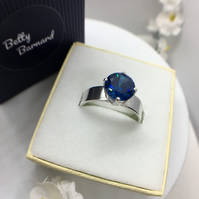 Sapphire Blue Cubic Zirconia Ring - Sterling Silver - Hallmarked