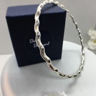 Wave Bangle - Sterling Silver - Hallmarked