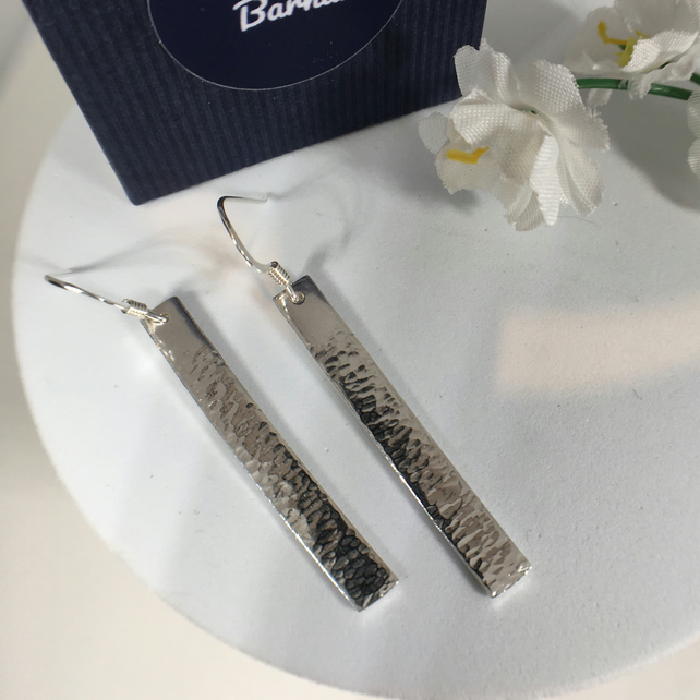 Sterling Silver Sea to Shore Rectangular Textured Earrings