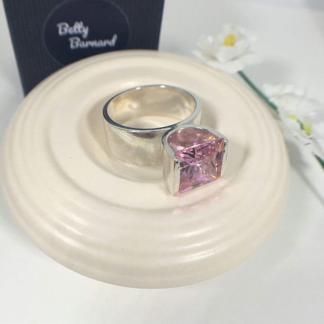 Pink Tension Set Statement Ring - Hallmarked