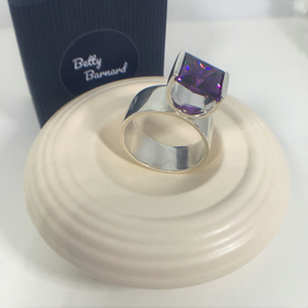 Amethyst Tension Set statement  Ring - Hallmarked