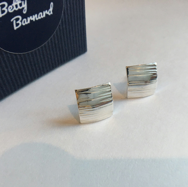 Square Patterned Stud Earrings - Sterling Silver