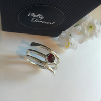 Sterling Silver Wrap Ring with Garnet