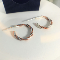 Twisted Hoops - Sterling Silver and Copper Earrings