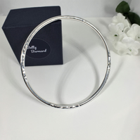 Sterling Silver Bangle with Charm -  Hallmarked