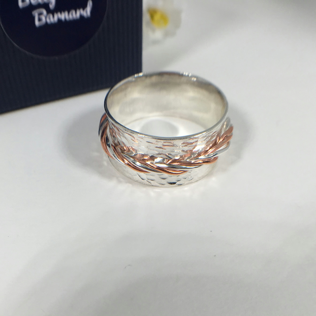 Men's Sterling Silver and Copper Spinning Ring - Hallmarked