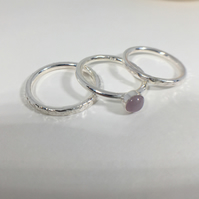 Sterling Silver Stacking Rings, one set with Lilac Amethyst Cabochon - set of 3