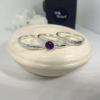 Stacking Rings with Purple Amethyst Cabochon - set of 3